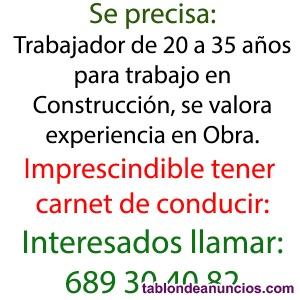 Se necesita Obrero de la Construcción