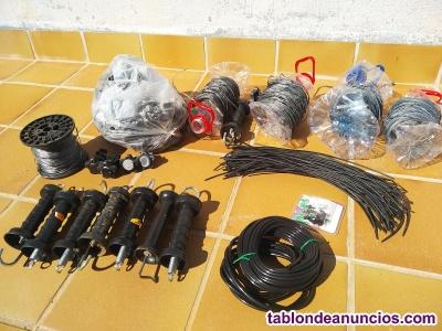 Conjunto de kit de riego y pastor eléctrico (unos 400 mt).