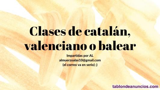Clases online de catalán 3€/h