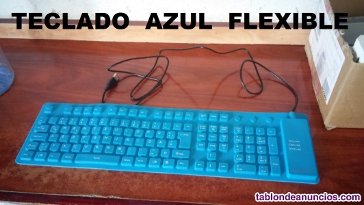 Teclado azul flexible + webcam eye toy    5 €