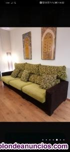 Venta sofá 3 piezas Verde-Marrón
