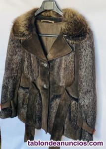 Chaquetón vintage combinación de ante  marrón y lobo