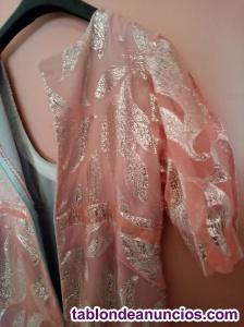 Vestido luminoso organza rosa estilo Shari hindú T.44