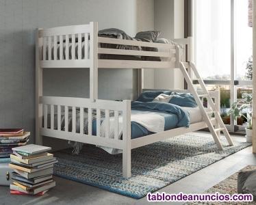 Litera maciza con cama de matrimonio y colchones nueva de fabrica