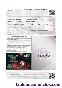 Billetes Renfe Ave 80 aniv. 19 € c.u.