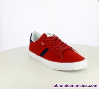 Zapatillas / bambas lona Levi's rojas de cordones (hombre)
