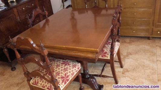 Mesa de comedor extensible con 6 sillas