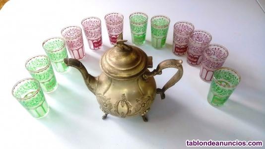 Tetera marroquí de artesanía + 12 vasos. Origen FEZ Marruecos