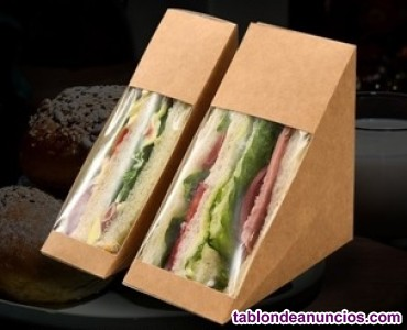 Sandwich box de carton kraft.