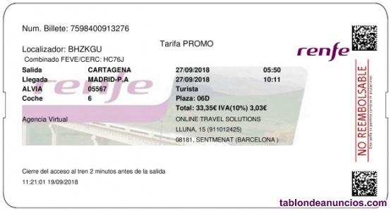 BILLETE DE TREN CARTAGENA -MADRID 26 de JULIO