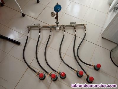 Rampa de 6 latiguillos para butano o propano