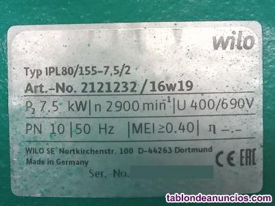 Bomba circuladora de velocidad fija simple cuerpo Wilo IPL 80/155-7,5/2