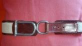 Cinturon colonial de cuero  marron y tela