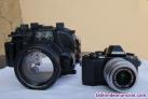 Camara fotografica Olympus OM-D EM10 y caja estanca Meikon