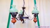 Lámpara rústico forja tres brazos quinqué