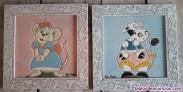 4 cuadros infantiles de animales y muñecas hechos a mano