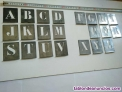 Plantilla metalica de alfabeto para rotular 22 letras de 45 mm faltan e, n, o, w