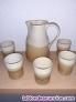 Jarra de ceramica decorada con 5 vasos